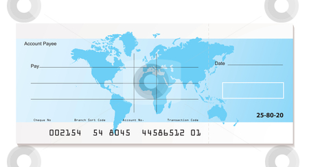 Bank cheque world stock vector clipart, Illustrated bank cheque with world map and sample template by Michael Travers