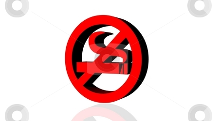 No smoking stock photo, Red no smoking logo in white background by Elenarts