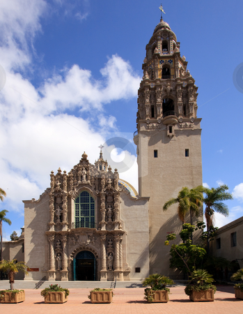 California Tower and Museum of Man from Balboa Park stock photo, View of the ornate California Tower and South Facade of Museum of Man in Balboa Park in San Diego by Steven Heap