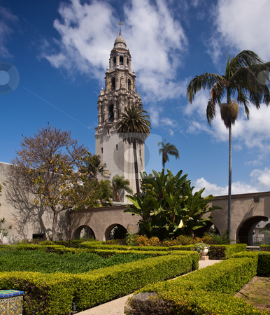 California Tower from Alcazar Gardens in Balboa Park stock photo, View of the ornate California Tower from the Alcazar Gardens in Balboa Park in San Diego by Steven Heap