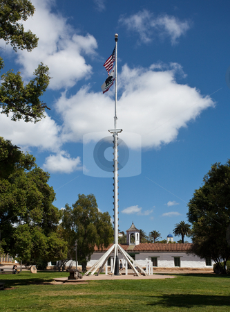 Plaza de Plasado in old Town San Diego stock photo, Flag in the center of the Plaza in old town San Diego by Steven Heap