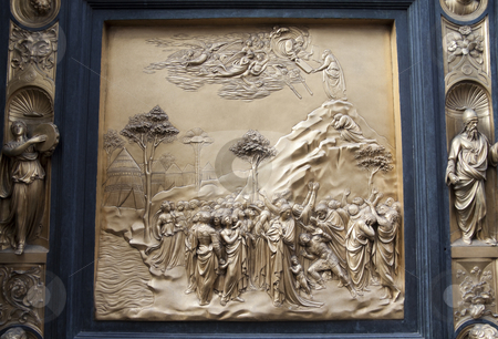 Gates of Paradise Detail stock photo, The Gates of Paradise at the Duomo in Florence, by Lorenzo Ghiberti showing the pannel of Moses by Kevin Tietz