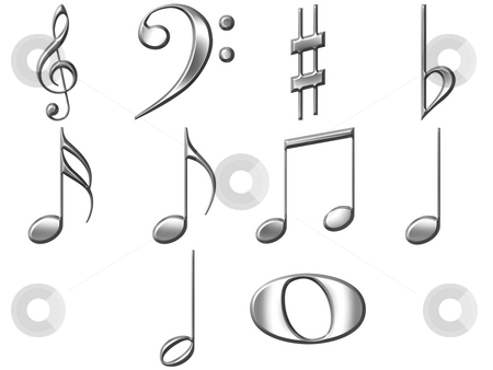3D Silver Music Notes  stock photo, 3d silver music notes isolated in white by Georgios Kollidas