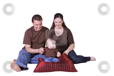Happy Family Portrait with Mother, Father and Son stock photo, Happy Family Portrait - Isolated White Background by Mehmet Dilsiz