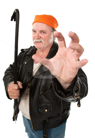 Crowbar Grip stock photo, Fat hoodlum with kungfu grip and crow bar by Scott Griessel