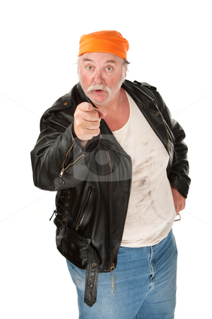 In Your Face stock photo, Angry biker gang member with leather jacket by Scott Griessel