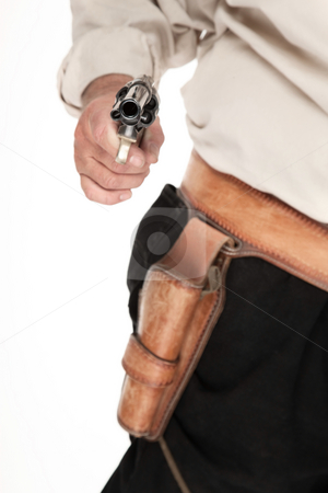 Aimed Pistol stock photo, An aimed and cocked pistol pulled out of a leather holster by Scott Griessel