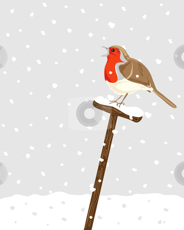 Robin stock vector clipart, A hand drawn illustration of a robin sitting on a spade handle with snow falling in the background by Mike Smith