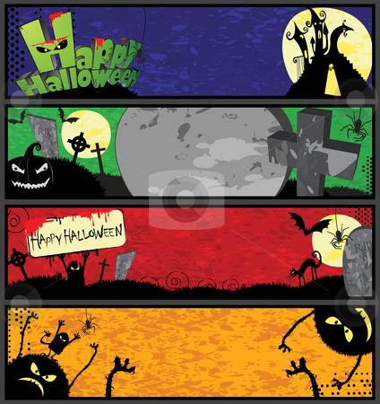 Halloween Banners in Different Colors stock vector clipart, 4 horizontal halloween banner templates in different colors by Linnea Eriksson
