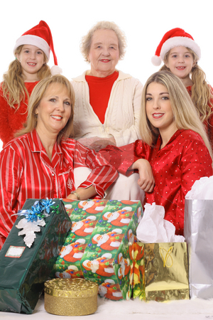 Holiday girls with gifts stock photo, Holiday girls with gifts by Andi Berger
