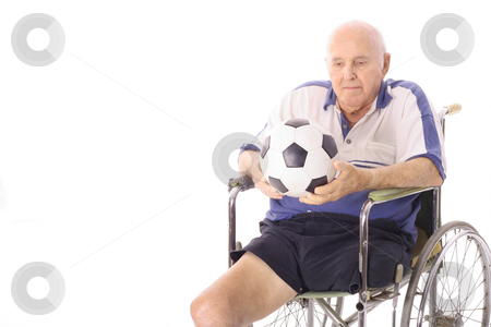 Handicap elderly man with soccer ball stock photo, Shot of a handicap elderly man with soccer ball by Andi Berger