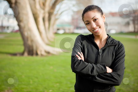 Woman exercise stock photo, A shot of a beautiful black woman exercises outdoor by Suprijono Suharjoto