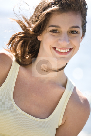 Happy beach summer girl stock photo, A cheerful beautiful caucasian girl on the beach during summer by Suprijono Suharjoto