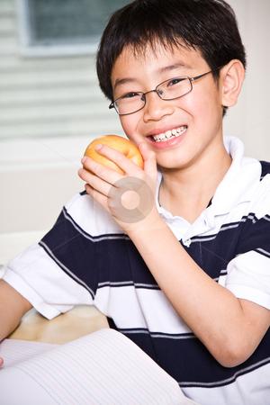 Studying kid eating apple stock photo, A shot of an asian kid studying and eating an apple at home by Suprijono Suharjoto