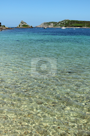 Shallow clear water between Bryher and Tresco, Isles of Scilly. stock photo, Shallow clear water between Bryher and Tresco, Isles of Scilly. by Stephen Rees