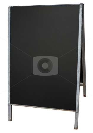 Empty street menu blackboard stand isolated on white. stock photo, Empty street menu blackboard stand isolated on white. by Stephen Rees