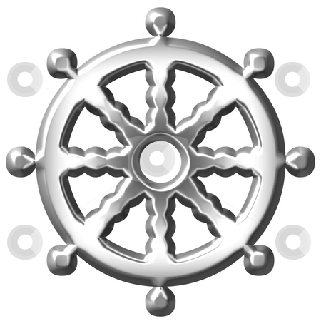 3D Silver Buddhism Symbol Wheel of Dharma stock photo, 3d silver Buddhism symbol Wheel of Dharma isolated in white by Georgios Kollidas