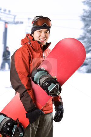 Snowboarder stock photo, A shot of an asian snowboarder at a ski resort by Suprijono Suharjoto