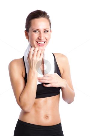 Beautiful sporty woman stock photo, An isolated shot of a sporty beautiful caucasian woman laughing by Suprijono Suharjoto
