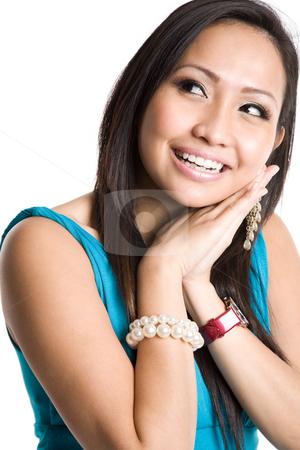 Happy beautiful asian woman stock photo, An isolated shot of a happy beautiful asian woman by Suprijono Suharjoto