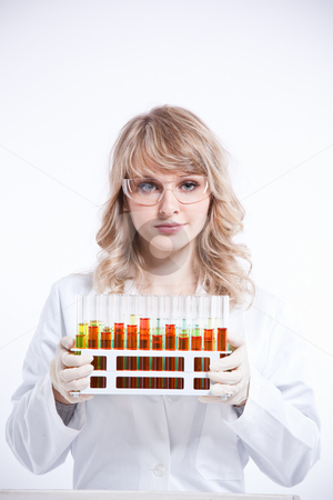Female scientist stock photo, An isolated shot of a female scientist by Suprijono Suharjoto