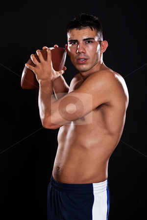 Hispanic american football player stock photo, A portrait of a hispanic american football player by Suprijono Suharjoto