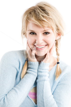 Beautiful caucasian girl stock photo, An isolated shot of a beautiful smiling caucasian girl by Suprijono Suharjoto