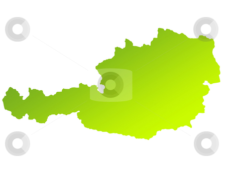 Austria map stock photo, Green gradient map of Austria isolated on a white background. by Martin Crowdy