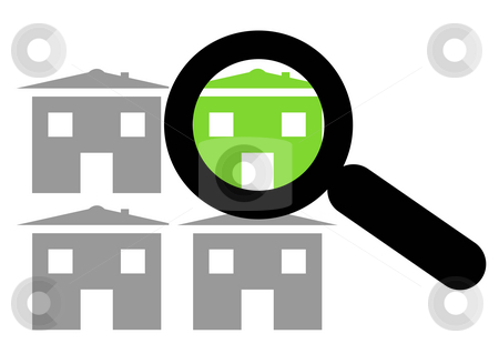 Choosing eco home stock photo, Conceptual image of magnifying glass over eco homes, choice and options. by Martin Crowdy