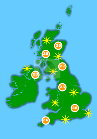 Hot UK weather map stock photo, Hot United Kingdom weather map, isolated on blue background. by Martin Crowdy