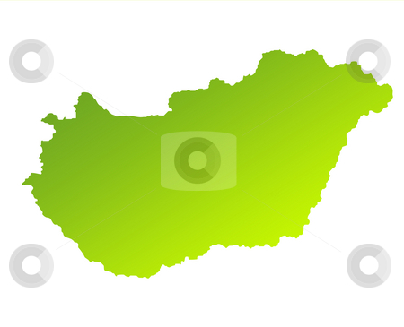 Hungary stock photo, Green gradient map of Hungary isolated on a white background. by Martin Crowdy
