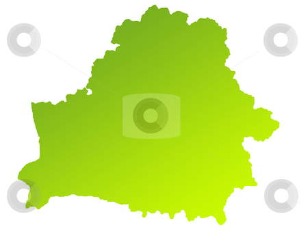 Belarus map stock photo, Green gradient map of Belarus isolated on a white background. by Martin Crowdy