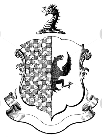 Heraldic coat of arms stock photo, Engraving of dragon design on heraldic crest or coat of arms with copy space on banner.  Published by Nicholas Caussin in 1663 book,