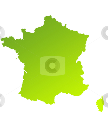 France stock photo, Green gradient map of France isolated on a white background. by Martin Crowdy