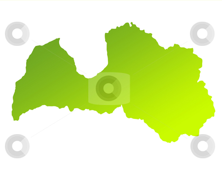 Latvia stock photo, Green gradient map of Latvia solated on a white background. by Martin Crowdy
