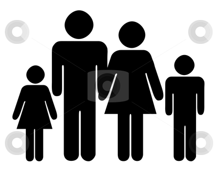 Family silhouette stock photo, Black silhouette of traditional family with two children, isolated on white background. by Martin Crowdy