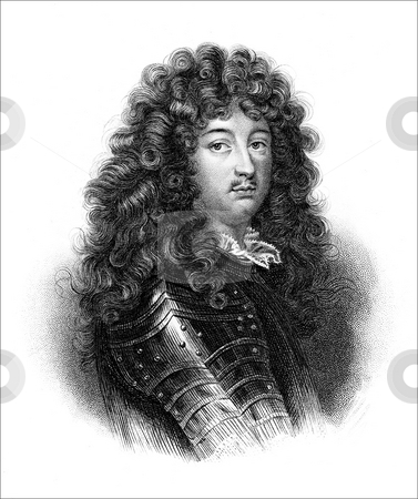 Louis XIV of France stock photo, Engraved portrait of King Louis XIV of France. Published in book, The Vicomte of Bragelonne by Alexandre Dumas between 1847-1850. Public domain image by virtue of age. by Martin Crowdy