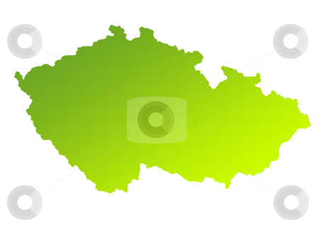 Czech Republic stock photo, Green gradient map of Czech Republic isolated on a white background. by Martin Crowdy