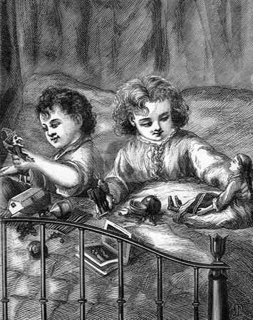 Children opening presents at Christmas stock photo, Steel engraving of young boy and girl opening presents in bed on Christmas morning. Published in the December 1872 issue of Godey's Lady's Book. Public domain image by virtue of age. by Martin Crowdy