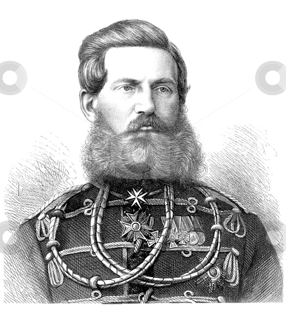 Crown Prince Frederick III stock photo, Black and white engraved portrait of Crown Prince Frederick William III or Prussia.  From a portrait taken in St. Petersburg by unknown engraver, published in Illustrated London News on Aug 20th, 1870. He was a German Emperor and King of Prussia for 99 days in 1888 during the Year of the Three Emperors. He is pictured here in 1870. by Martin Crowdy