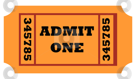 Admit one ticket stock photo, Admit one entrance ticket isolated on white background. by Martin Crowdy