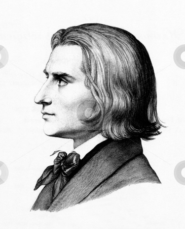 Franz Liszt stock photo, Side portrait of composer Franz Liszt dated 1843 by unknown author. Public domain image by virtue of age. by Martin Crowdy