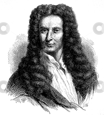 Isaac Newton stock photo, Engraving of Isaac Newton circa 1680 on white background. Published in El mundo f?sico by Am?d?e Guillemin in 1882. Public domain image by virtue of age. by Martin Crowdy