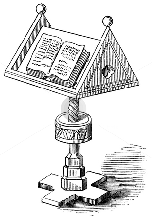 Antique reading desk stock photo, Engraving of book on 15th century reading desk or lecturn. Published in 1878 book by William Hickman Smith Aubrey:  by Martin Crowdy