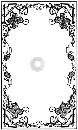 Early Victorian border stock photo, Early Victorian floral border isolated on white background with copy space. From book cover, source:  Mrs. L. G Abell.:  by Martin Crowdy