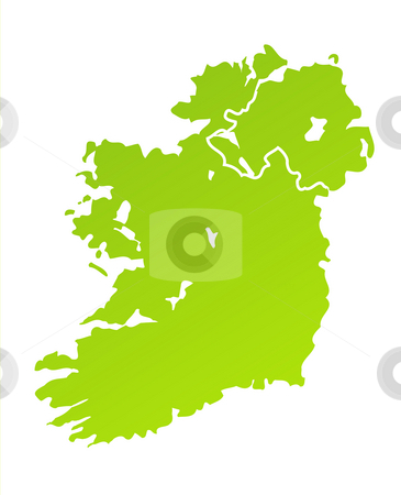 Ireland Map stock photo, Green gradient map of Northern and Southern Ireland isolated on a white background. by Martin Crowdy