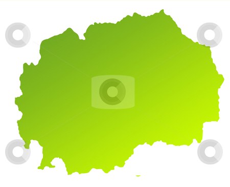 Macedonia stock photo, Green gradient map of Macedonia solated on a white background. by Martin Crowdy