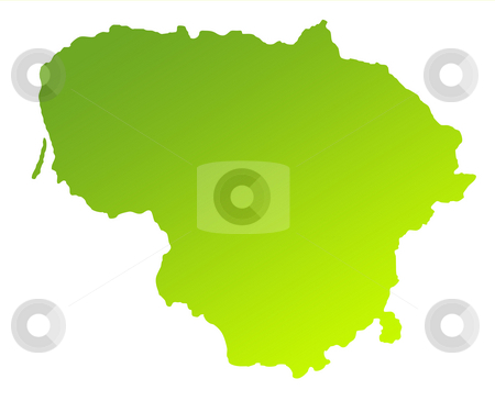 Lithuania stock photo, Green gradient map of Lithuania solated on a white background. by Martin Crowdy
