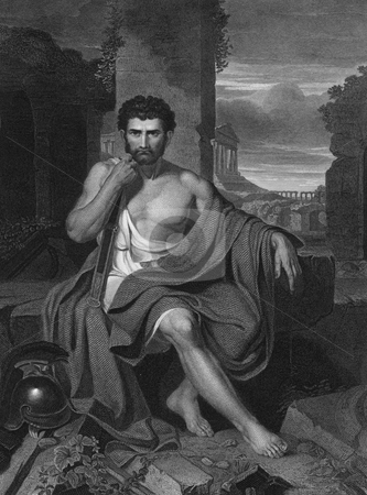 Gaius Marius on the ruins of Carthage  stock photo, Engraving of Roman Gaius Marius on the ruins of Carthage. Original work by artist John Vanderlyn (1775 by Martin Crowdy