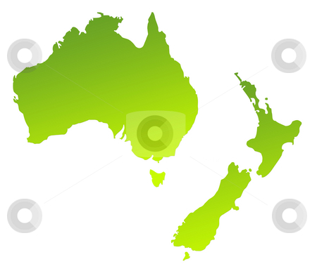 Australia and New Zealand stock photo, Green gradient map of Australia and New Zealand isolated on a white background. by Martin Crowdy